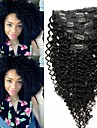 "7Pcs/Set 12""-26"" Malaysian Virgin Hair Natrual Black Kinky Curly Clip In  Human Hair Extensions"