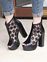 Sandales ( PU , Noir/Amande ) Gros talon - 10-12cm pour Chaussures femme
