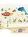 Wall Stickers Väggdekaler, tecknad vattensvärlden pvc väggdekorationer