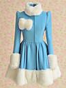 Manteau Doux Lolita Cosplay Vetrements Lolita Bleu Mosaique Manches longues Lolita Manteau Pour Femme Laineux