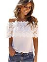 Vrouwen Eenvoudig Zomer T-shirt,Casual/Dagelijks Effen Een-schouder Korte mouw Wit Dun