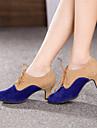 Chaussures de danse(Bleu) -Non Personnalisables-Talon Cubain-Daim-Moderne