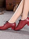 Women's  Dance Shoes Modern Leather Cuban Heel Black/Red