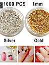 1000PCS Glass Beads Non-fading Nail Art Decoration Gold/Silver to Choose 1mm