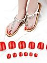 70pcs orteil rouge fausse acrylique conseils d\'art d\'ongle vives