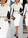 Robes ( Coton melange/Polyester ) Vintage/Bodycon/Soiree Rond a Manches longues pour Femme