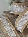 "5M 2"" (5 cm) Natural Jute Burlap Hessian Ribbon with Lace Trims Tape Rustic Wedding Decor Wedding Cake Topper(Random)"
