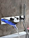 Contemporain Montage mural LED Cascade with  Soupape ceramique Deux poignees quatre trous for  Chrome , Robinet de baignoire