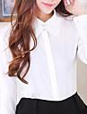 Camicia Da donna Formali Semplice Primavera,Tinta unita Colletto Bianco / Nero Manica lunga Medio spessore