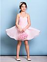 Lanting Bride® Knee-length Chiffon Junior Bridesmaid Dress A-line Spaghetti Straps with Beading / Ruching
