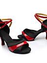 Chaussures de danse(Rouge / Argent / Or) -Personnalisables-Talon Cubain-Satin-Latine / Baskets de Danse