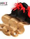 """4st mycket 14-28 """"ombre brasiliansk 2 två ton svart blond 1b / 27 # virgin remy mänskliga hårförlängningar / väva buntar vågigt"""