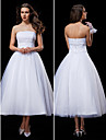 Lanting Bride Ball Gown Petite / Plus Sizes Wedding Dress-Tea-length Strapless Tulle