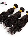"""3st lot 12-28 """"mongoliska obearbetade vatten wave wavy jungfru hårwefts naturligt svart rå remy människohår väva buntar"""