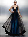 TS Couture® Formal Evening Dress Plus Size / Petite A-line V-neck Floor-length Tulle with Sash / Ribbon