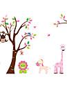 zoo apa lejon elefanttecknad väggdekorationer för barn rum zooyoo216 dekorativa flyttbar pvc väggdekal