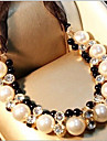 New Arrival Fashional Hot Selling Crystal Ribbon Pearl Necklace
