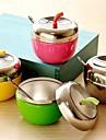 äpple rostfritt stål formad krydda box kryddburk med sked kök verktyg (slumpvis färg)