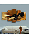 Hand-Painted Abstract Brown Sea Nude Women Oil Painting on Canvas  5pcs/set No Frame