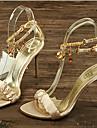 Sandal ( Svart/Guldfärgad/Orange ) - till KVINNOR Stilettklack - Klack - i Siden
