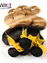"""4st mycket 14-28 """"ombre malaysiska 2 två ton svart blond 1b / 27 # virgin remy mänskliga hårförlängningar / väva buntar vågigt"""
