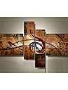 HANDMÅLAD AbstraktModerna / Europeisk Stil Fyra paneler Kanvas Hang målad oljemålning For Hem-dekoration