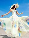 Vestito Da donna Swing Da spiaggia Fantasia floreale Maxi Rotonda Chiffon