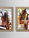oljemålning dekoration stilleben handmålade naturliga linne med sträckta inramat - set om 2