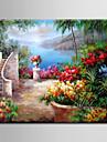 oljemålning dekoration abstrakt medelhavs- scen handen målade med sträckta inramade