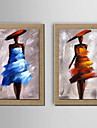 oljemålning dekoration abstrakt karaktär handmålade naturliga linne med sträckta inramat - set om 2