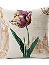 lantlig stil paris blommor mönstrade bomull / linne dekorativa kuddöverdrag