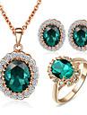Set bijuterii Cristal imitare Emerald Cristal Zirconiu Cubic imitație de diamant Aliaj Nuntă Petrecere Zilnic Casual 1setColiere