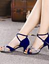 Non Customizable Women\'s Dance Shoes Latin Suede/Leatherette Cuban Heel Black/Blue