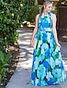 Women\'s Party/Cocktail A Line Dress,Floral Halter Maxi Sleeveless Blue Summer