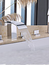 Shower Faucet / Bathtub Faucet - Contemporary - Handshower Included / Waterfall - Brass (Chrome)