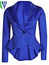 Kvinner Langermet Normal Blazer Arbeid / Fritid Polyester