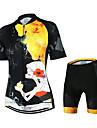 Arsuxeo® Cykeltröja med shorts Dam Kort ärm Cykel Andningsfunktion Snabb tork Anatomisk design YKK-dragkedja BakfickaCykeltröja och