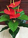 un ensemble de 1 noble 18 tete anthurium fleurs cinq fleurs rouges en tissu (1pcs)