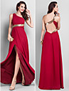 TS Couture® Prom / Military Ball / Formal Evening Dress - Burgundy Plus Sizes / Petite Sheath/Column One Shoulder Floor-length Chiffon