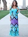 Women\'s Sexy Casual Print Maxi Inelastic Long Sleeve Maxi Dress (Cotton)