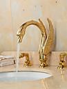 Contemporain Set de centre large spary with  Soupape ceramique Deux poignees trois trous for  Ti-PVD , Robinet lavabo