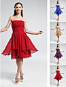 Homecoming Bridesmaid Dress Knee Length Chiffon A Line Strapless Dress