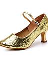 Chaussures de danse(Noir Rouge Argent Or) -Non Personnalisables-Talon Bobine-Flocage-Moderne