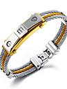 Homme Chaines & Bracelets Acier inoxydable Plaque or 18K or Hip-Hop Forme Ronde Argent Or/Argent Bijoux 1pc