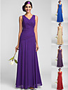 Bridesmaid Dress Floor Length Georgette Sheath Column V Neck Dress
