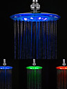 8 Inch A Grade ABS Chrome Finish Round  3 Colors LED Rain Shower Head - Silver