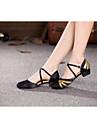 Chaussures de danse (Noir) - Non personnalisable - Talon bas - Satin/Paillette - Moderne