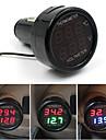 bilbatteri monitor voltmeter för 12V och 24V digital termometer -10-80celsius 2in1