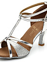 Chaussures de danse(Noir Marron Argent Or) -Personnalisables-Talon Personnalise-Satin Similicuir Paillette Brillante-Latine Salon