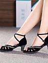 Chaussures de danse ( Noir / Bleu ) - Personnalisable - Talon Large - Suede / Paillettes scintillantes - Danse latine